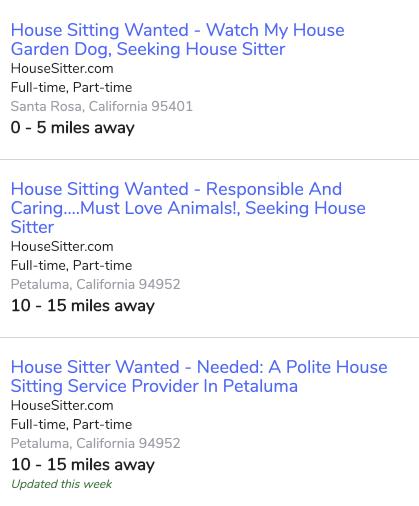 House Sitting listings on snagajob.com, showing similar listings to HouseSitter.com